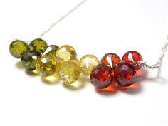 Fall Color Gemstone Necklace- olivine green, citrine yellow, carnelian | NightOwlJewelry - Jewelry on ArtFire