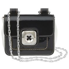 Mini cross-body bag with metal hardware. The chain strap can be worn cross-body or doubled up for a shorter over the shoulder look. Inside features a slip pocket. Measures approx L x 4 H x D. Strap drop fully extended is doubled strap drop is Camera Purse, Black And White Shoes, Mini Bag, Nine West, Me Too Shoes, Crossbody Bag, Shoulder Bag, Handbags, Purses