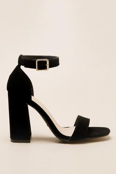 Soul 2-Strap Block Heel- Black right