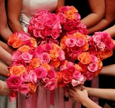 pink and orange rose bouquets. #orangepink  #bouquets #wedding
