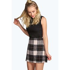 Boohoo Cameron Check Crepe A-Line Mini Skirt ($7) ❤ liked on Polyvore
