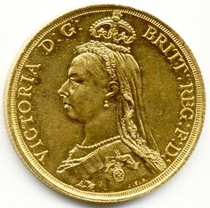 TWO POUNDS QUEEN VICTORIA GOLD SOVEREIGN COIN.