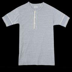 UNIONMADE - Homespun Knitwear - Fine Melange Terry Standard Short Sleeve Henley in Blue Sky