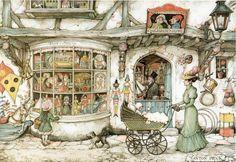 Anton Pieck was a Dutch painter and graphic artist. The work of Anton Pieck contains paintings in oil and watercolour, etchings. Moritz Von Schwind, Illustration Arte, Anton Pieck, Dutch Painters, Dutch Artists, 3d Prints, Arabian Nights, Pics Art, Toys Shop