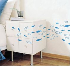 FISH  Wall Decal Wall Sticker Mural Kids Home Wall by sweetwall, $5.00!! These would go by Mac's bed!