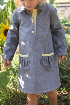 Oliver + S Jump Rope Dress pattern in chambray