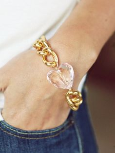 Gold Chain Bracelet with Light Pink Heart Charm - Lightweight Bracelet via Etsy