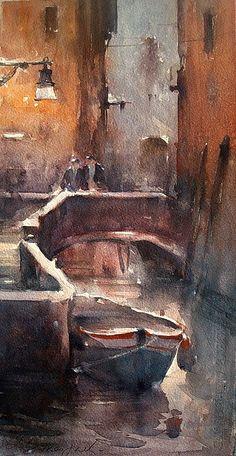 Dusan Djukaric, Venice, Watercolour, 40x20cm