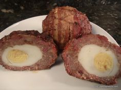 Scotch Eggs Texas Style We make our Scotch eggs all the time but for these we used jumbo double yolked eggs, hot and mild sausage and mixed in chopped bacon