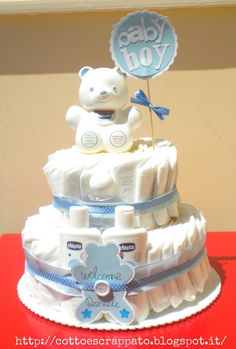 Cotto e Scrappato: Le cicogne... instancabili lavoratrici! Baby Showers, Baby Shower Parties, Baby Boy Shower, Baby Shower Gifts, Baby Gifts, Baby Nappy Cakes, Diaper Cake Boy, Diaper Cakes, Pamper Cake