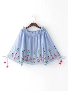 Sexy Elastic Slash Off Shoulder Strapless Striped Shirt 2017 New Woman Floral Embroidery Flare Sleeve Blouse tops blusas femme Indian Fashion Dresses, Girls Fashion Clothes, Teen Fashion Outfits, Trendy Fashion, Fashion Women, Stylish Dresses For Girls, Stylish Dress Designs, Designs For Dresses, Cute Casual Outfits