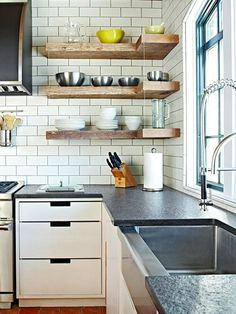 Open Shelving in Kitchens: 7 Different Looks  The shelves are alright, but I really like the counter top.