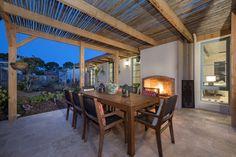 Outdoor terrace, open firepace Newport, Building Design, Terrace, Pergola, Outdoor Structures, Interior Design, Balcony, Nest Design, Patio