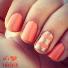 Peach and Gold Accent Nails