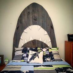 Custom shark pallet headboard. By Hoeller Designs.