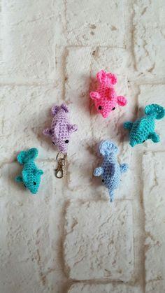 Mini crochet dolphin - Crochet dolphin - Miniature crochet dolphin key chain - Crochet key chain - Cute key chain - Dolphin key chain by BellaFarfallaBoutiqu on Etsy