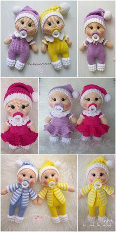 plus Amigurumi Doll Pacifier Baby Free Crochet Pattern - Crochet.plus Amigurumi Do. Doll Amigurumi Free Pattern, Crochet Dolls Free Patterns, Crochet Doll Pattern, Amigurumi Doll, Knitting Patterns, Knitted Dolls, Baby Toys, Crochet Projects, Crochet Gratis