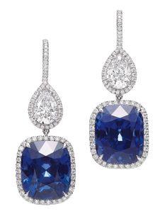Harry Winston Jewelry diamond and sapphire earrings