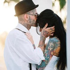 gorgeous tattoos and couple