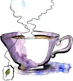 watercolor tea cup by Emily Norton. Pen And Watercolor, Watercolor Pencils, Watercolor Illustration, Watercolour Painting, Painting & Drawing, Watercolors, Tea Illustration, Watercolor Pictures, Watercolor Artists