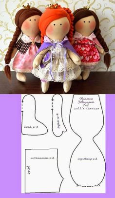 para quem fica me pedindo moldes dessas bonecas russas, segue na foto abaixo um molde fofo e delicado, percebam nas três bonecas que o q...
