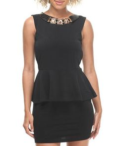 Love this Nikki Sleeveless Peplum Dress w/ Attached Necklace on DrJays and only for $14.99. Take a look and get 20% off your next order! Exclusions apply.