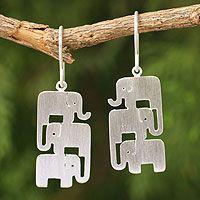 Sterling silver dangle earrings, 'Elephant Stack'