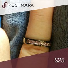 Black Gold Ring Brand New Black Gold Filled Band with Pink CZ baguettes.... Jewelry