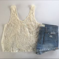 Kimchi Blue Cream Lace Crop Top Kimchi Blue Cream Lace Crop Top - medium see through material light weight super cute back Kimchi Blue Tops Tank Tops