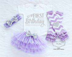 First Birthday Girl Outfit, First Birthday Girl, Cake Smash Outfit, Baby First Birthday Outfit, 1st Birthday Outfit, Purple Birthday B7 by ThreeHappyPandas on Etsy https://www.etsy.com/listing/501696061/first-birthday-girl-outfit-first
