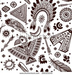 Tribal vector seamless pattern with native American Indian symbols