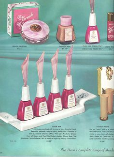 Avon Representative catalog Campaign (C)16-1958, page 23,. Nail polish never looked so glamorous in the bottle!
