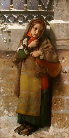 Léon Bazile Perrault (1832 – 1908, French) was a student of William Bouguereau & François-Edouard Picot, he exhibited at the Salon from 1863 onwards, producing several works, in the academic tradition. He was famous for his le petit naufragé (The little shipwrecked boy, 1874) & his paintings of children.