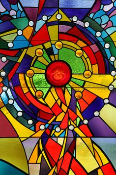 Modern stained glass window at church wedding