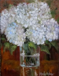 Still Life Painting White Hydrangeas In Clear by ChatterBoxArt