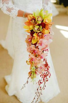 A Stunning Cascading Bridal Bouquet: Red Roses, Red Orchids, Green, Yellow & Orange Cymbidium Orchids & Peach/Coral Phalaenopsis Orchids~~