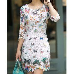 Refreshing Scoop Neck Butterfly Pattern 3/4 Sleeve Women's Lace DressLace Dresses | RoseGal.com