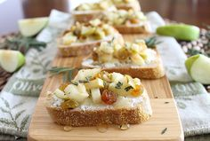 Rosemary apple and goat cheese crostini.