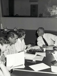 Cary Grant and Betsy Drake attend a cast script reading for their film Room for One More, 1952.