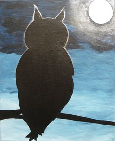 Great Horned Owl Silhouette Shadow Moonlit Night Sky Acrylic Canvas Painting 8x10. This Great Horned Owl is taking a rest on a branch before setting out on his nightly hunting expedition. Mysterious, dark blue clouds set the tone. The owl is awash in the glow of the bright moonlight that was created with pearl finish paint. This painting was created with acrylic paints on an 8x10 canvas. Comes ready to hang with a wire hanger on the back. Colors may vary slightly due to differences in...