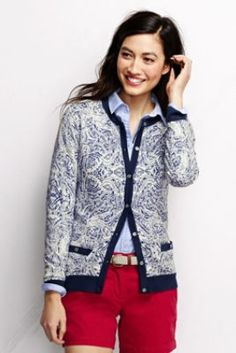 Women's Supima Pocket Cardigan Sweater - Print from Lands' End