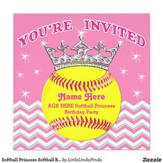 Softball Princess Party.  PERSONALIZED Softball Birthday Invitations with 5 text boxes for her Name, Age and Your Text. Change colors too. CLICK: http://www.zazzle.com/softball_princess_softball_birthday_invitations-256447125588101066?rf=238147997806552929 Cute softball birthday party invitations in Any Color. Call Linda for changes or help: 239-949-9090 Personalized girls softball birthday party ideas HERE…