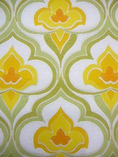 geel  groen medaillon behangpapier