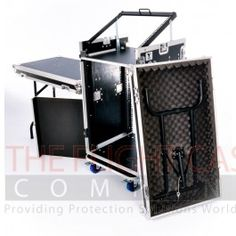 16u DJ Workstation Flight Case Rack with Side Tables and 10u Mixer Slant #flightcase