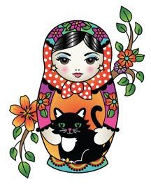 Matryoshka Doll with black cat, minus the vine/ flowers off the sides! L❤️VE