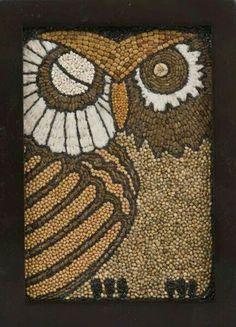 This is a great inspiration: You can use color books, glue seeds (sunflower, pumpkin, poppy seeds etc.) for a winter activity and they can learn about seeds too. Seed Craft, Puppy Crafts, Diy Arts And Crafts, Kid Crafts, Owl Art, Nature Crafts, Art Plastique, Mosaic Art, Framed Art