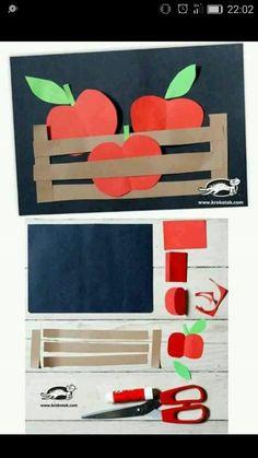 Apple craft for fall Kindergarten Art, Preschool Crafts, Kids Crafts, Arts And Crafts, Winter Crafts For Kids, Autumn Crafts, Diy For Kids, September Crafts, Fruit Crafts