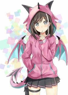 Please visit Dragon girl [Original] to read interesting posts. Loli Kawaii, Kawaii Anime Girl, Anime Art Girl, Anime Girls, Anime Neko, Chica Anime Manga, Sad Anime, Manga Girl, Anime Style