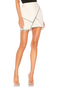 by the way. Carly Studded Mini Skirt in White