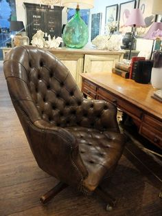 vintage leather desk chair antique leather office chair